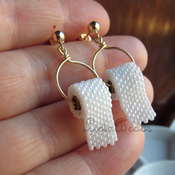 Hand beaded toilet paper earrings on sterling silver posts, handmade to order, allow 2 weeks prior to shipping