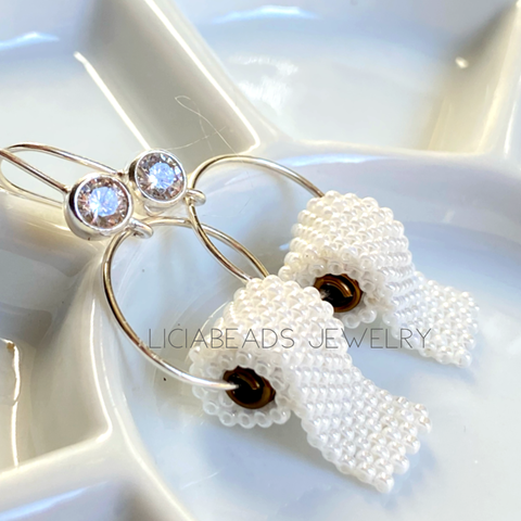 Royal Flush TP earrings with cubic zirconia stones on sterling sliver hooks