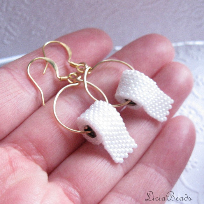 Beadwoven Toilet Paper White Lucite Gold Plated Earrings