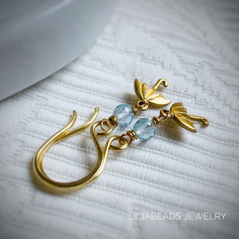 Dainty blue topaz gemstone and umbrella earrings