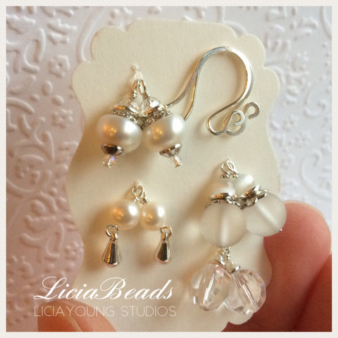 Pearl and ice interchangeable earring set