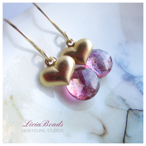 Pink quartz and golden heart gemstone earrings - Dena