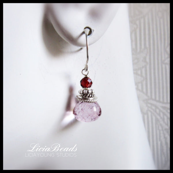 Duets - Pink mystic quartz and red garnet earrings