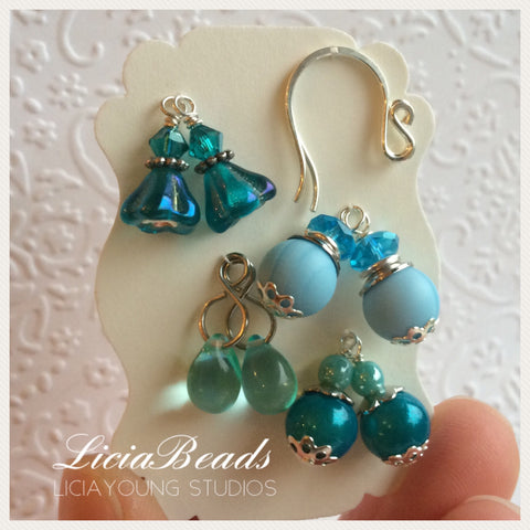 Lagoon blue interchangeable earring set