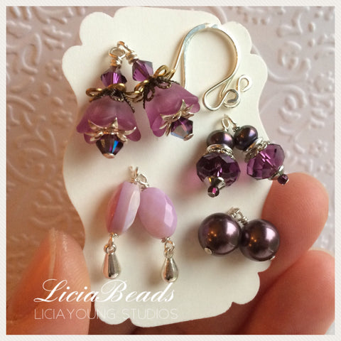 Purple interchangeable earring set