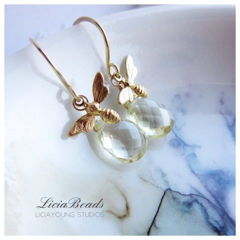 Lemon quartz and bees in flight earrings - Autumn