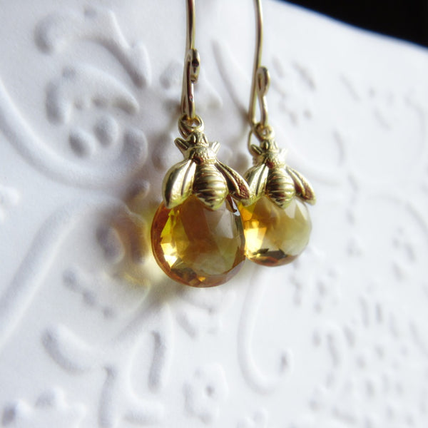Tiny bee and citrine gemstone earrings
