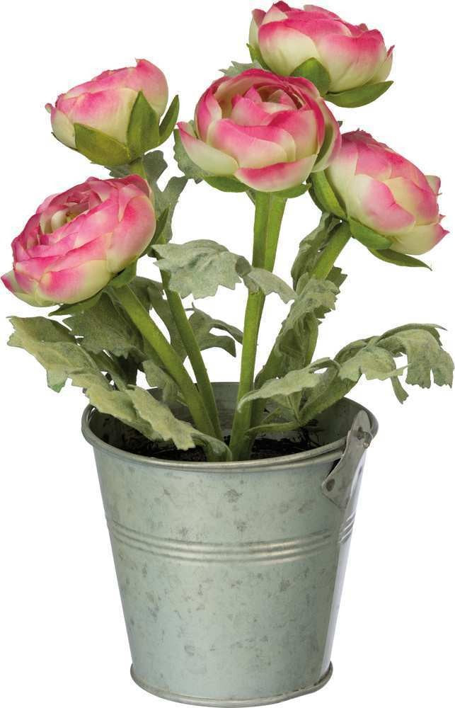 Potted Faux Pink Ranunculus