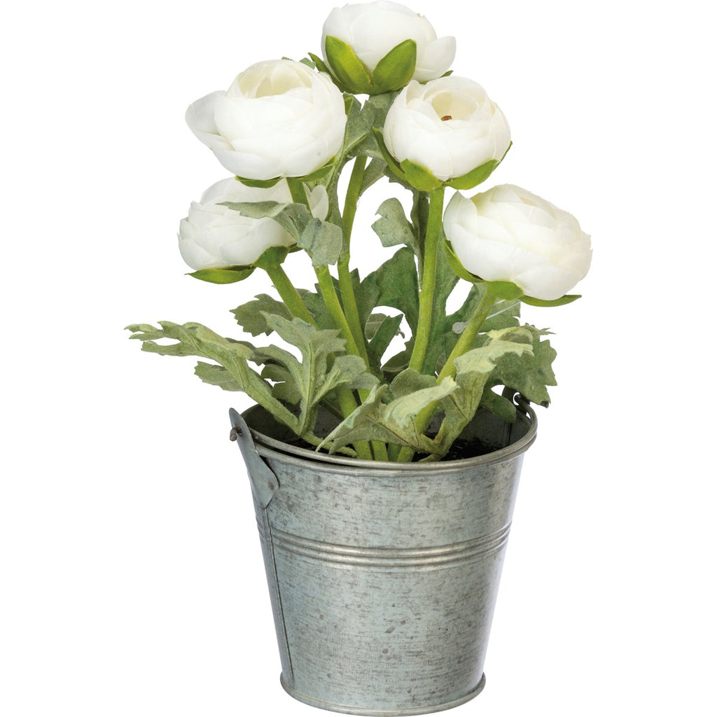 Potted Faux White Ranunculus