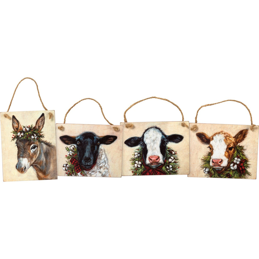 Holiday Farm Animal Ornaments