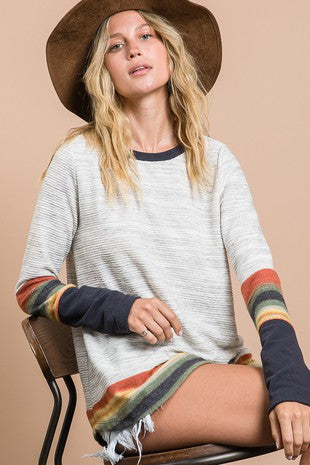 Solid Ribbed Striped Top