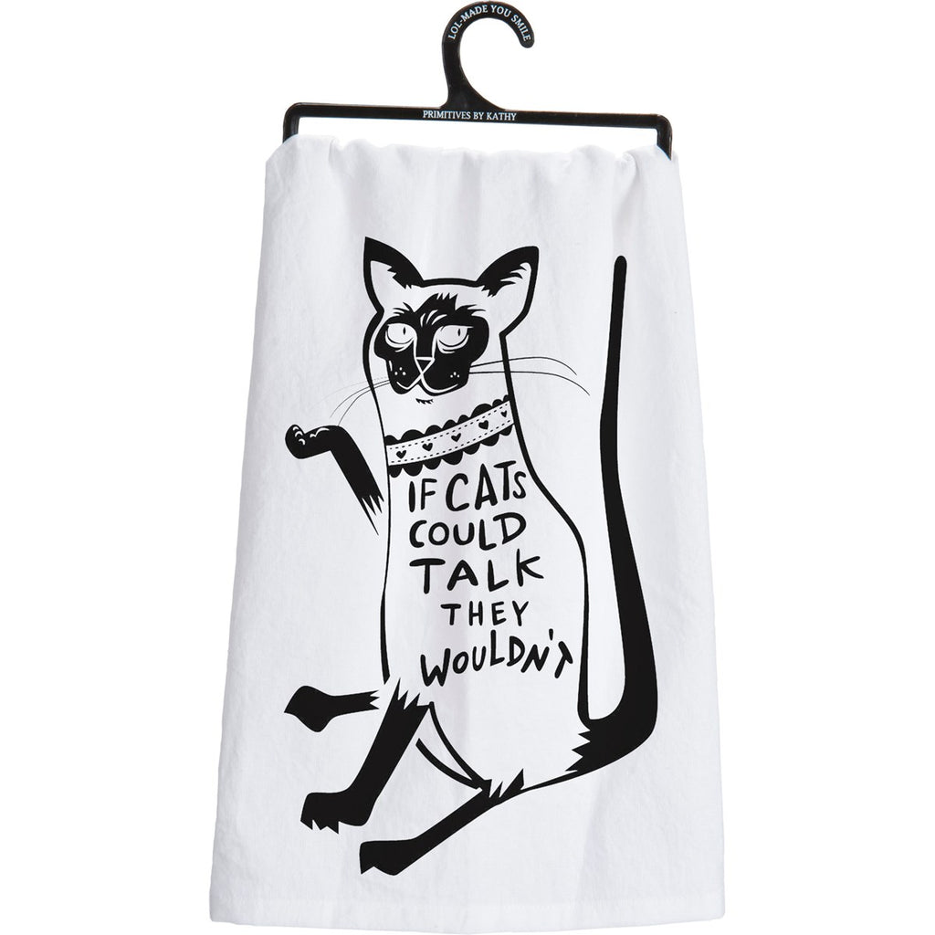 Cats Could Talk Tea Towel