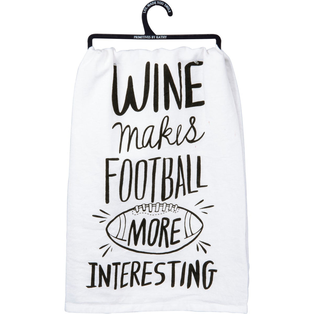 Wine Makes Football Tea towel