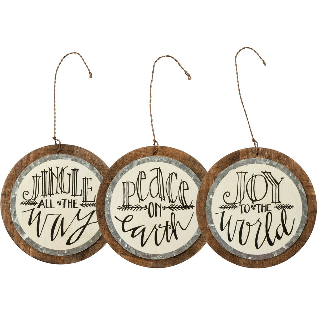 Peace, Joy & Jingle Wood Ornament Set