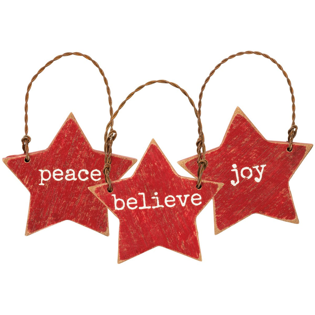 Joy, Peace, Believe Star Ornament Set