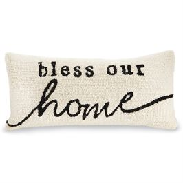 BLESS OUR HOME HOOKED PILLOW