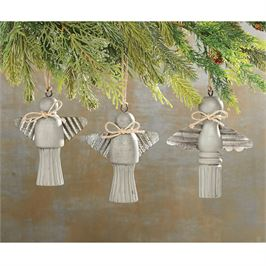 Wood and Tin Angel Ornaments