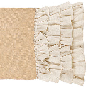 Burlap/Cream Multi Ruffle Runner