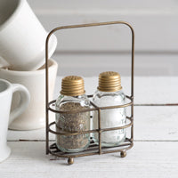 Salt and Pepper Carrier with Shakers - Antique Brass