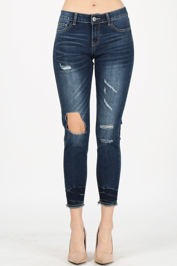 Capri Destroyed Denim Jeans