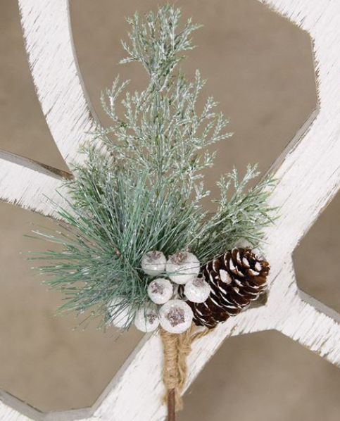 White Glittered Berry & Pinecone Pine Spray