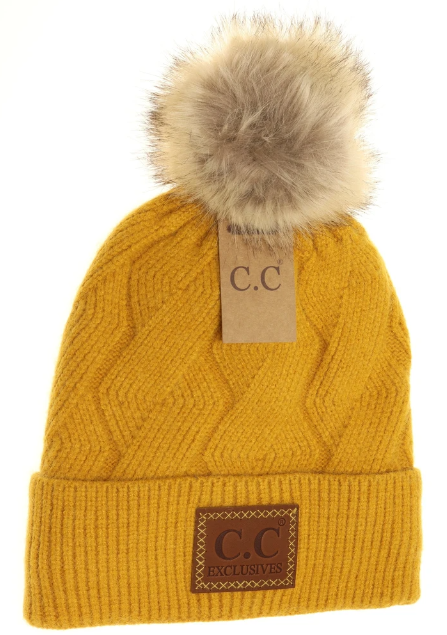 Geometric Knit Fur Pom Beanie