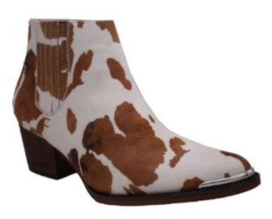 Cow Print Booties