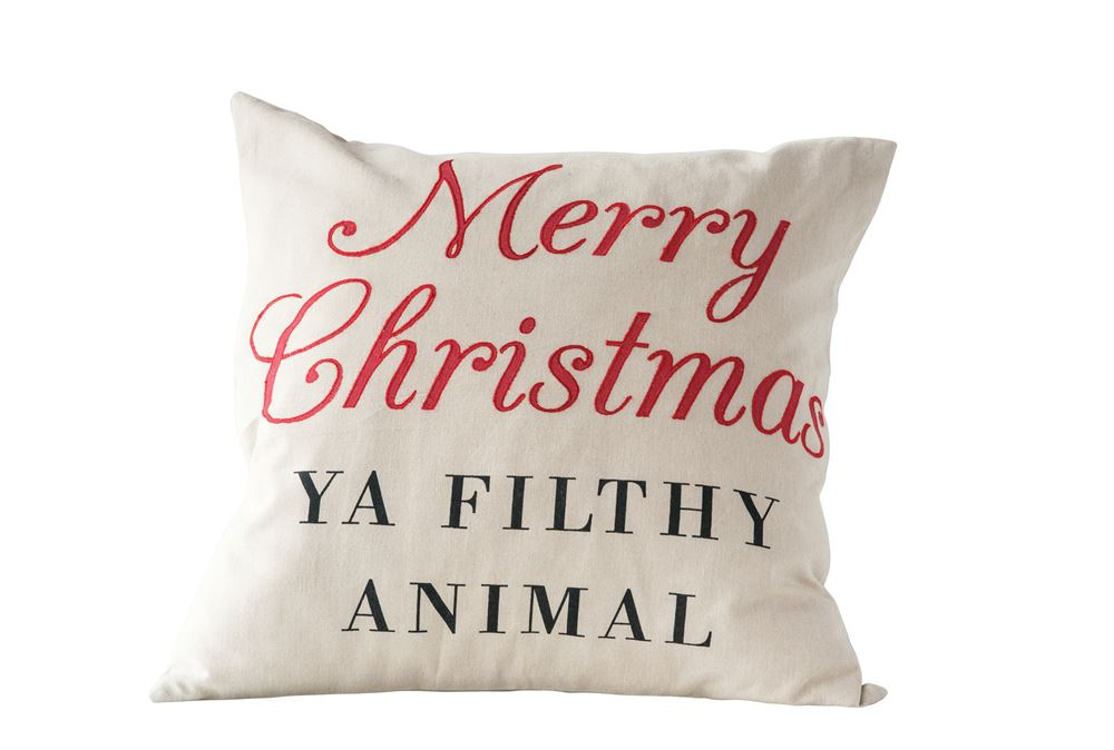 """Merry Christmas Ya Filthy Animal"" Pillow"
