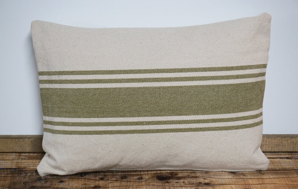 Canvas Pillow w/Olive Stripes