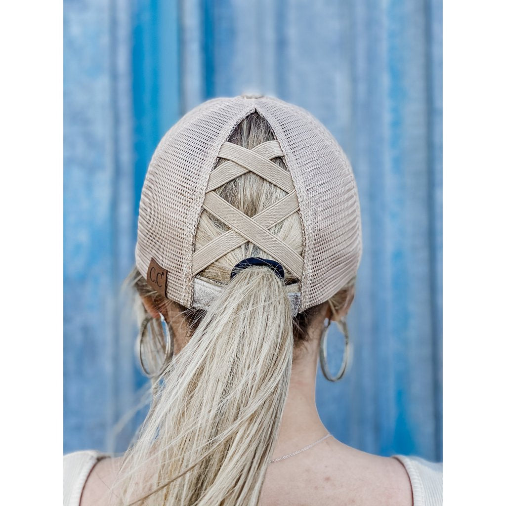 Vintage Faux Leather Cross Back High Pony Ball Cap