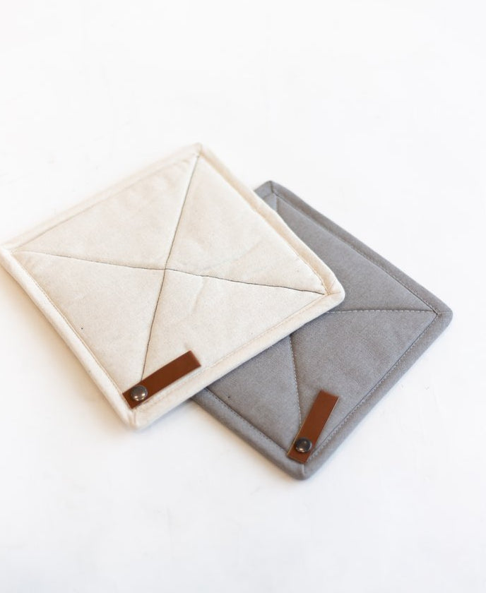 Square Pot Holder w/ Leather Loop
