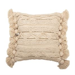 Square Cotton Looped Pillow w/ Gold Metallic Threads & Tassels, Cream Color