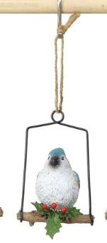 Resin Bird on Perch Ornament