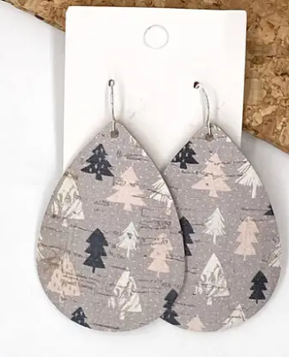 Christmas Tree Cork Earrings