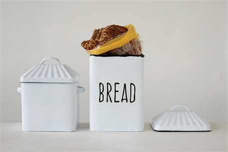 "White Enameled ""Bread"" Box w/ Lid"