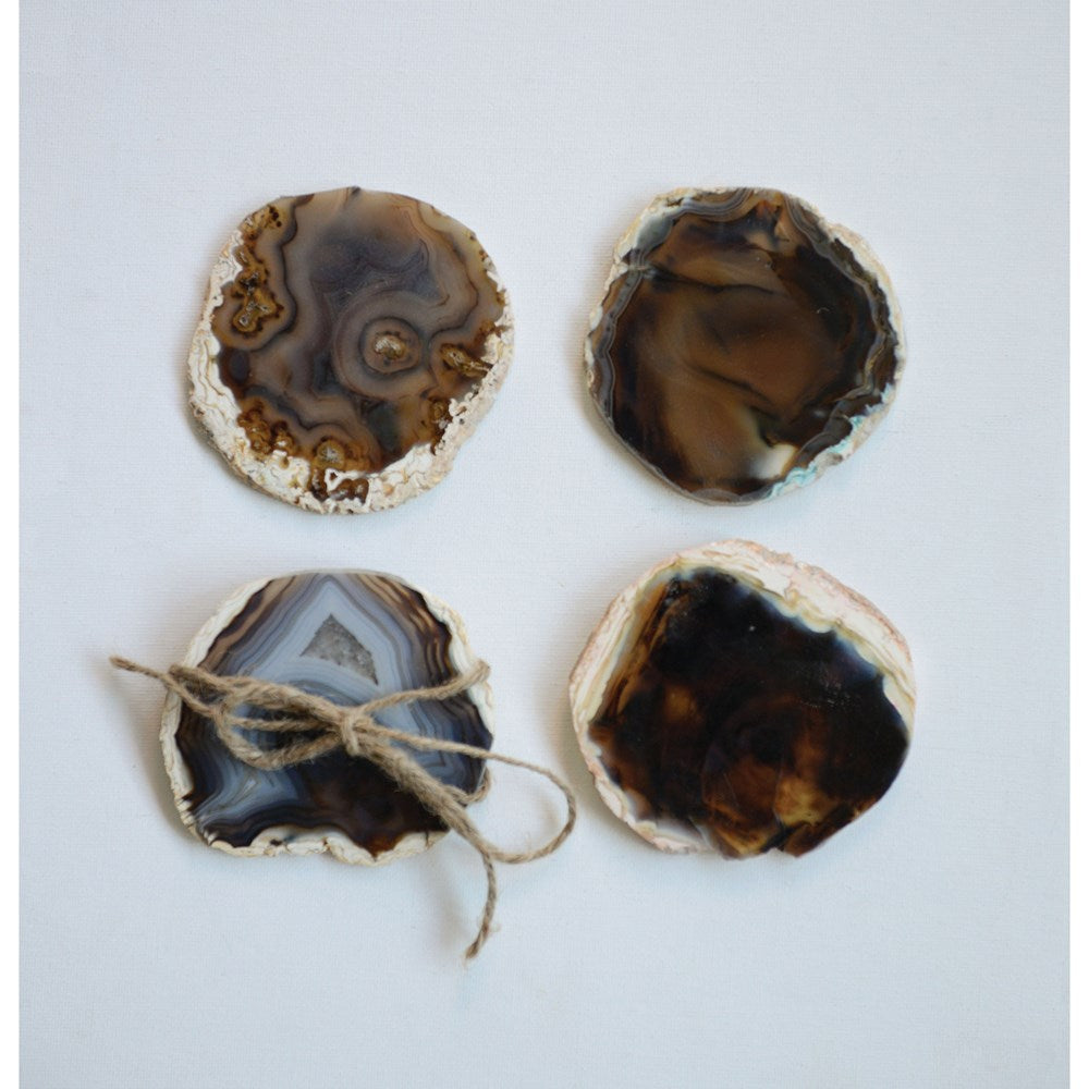 Brown Round Agate Coasters