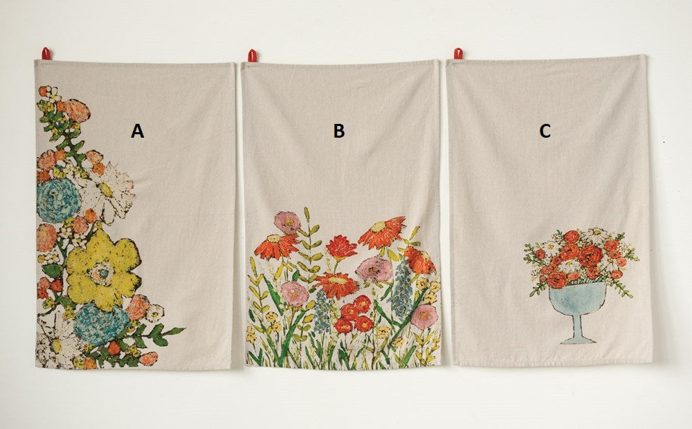 Tea Towel w/ Flowers