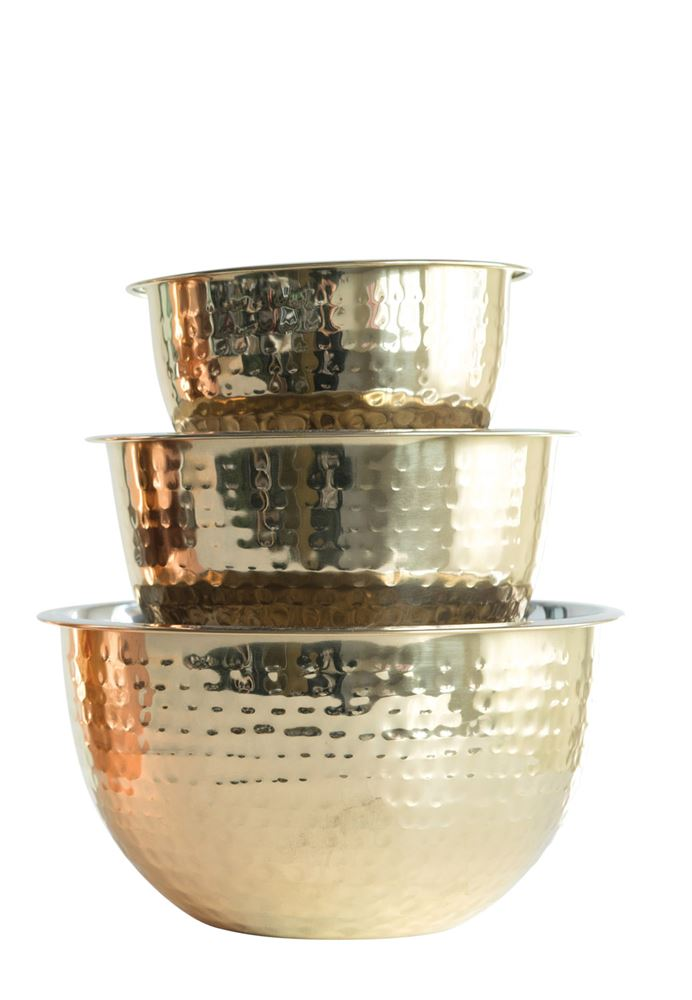Gold Hammered Bowl Set