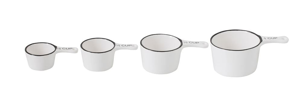 White & Black Stoneware Measuring Cups