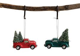 Resin Truck Ornament w/ Tree
