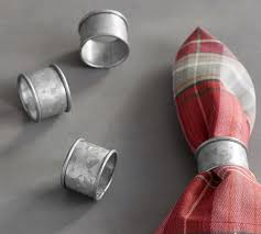 Galvanized Napkin Ring Set