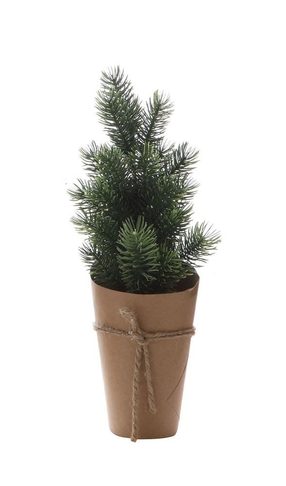 Faux Pine Tree w/ Wrapped Pot