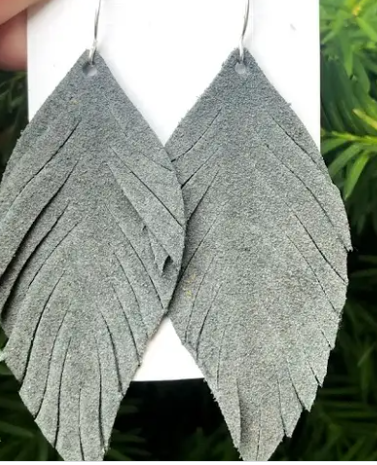 Gray Suede Leaf Fringe Earrings