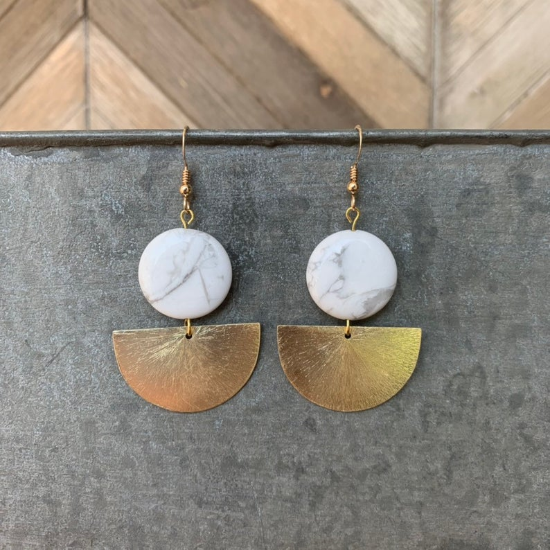 Marble Mila Dangles- Gold