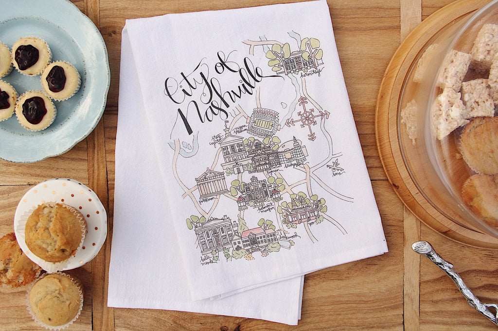 Watercolor Map Tea Towel