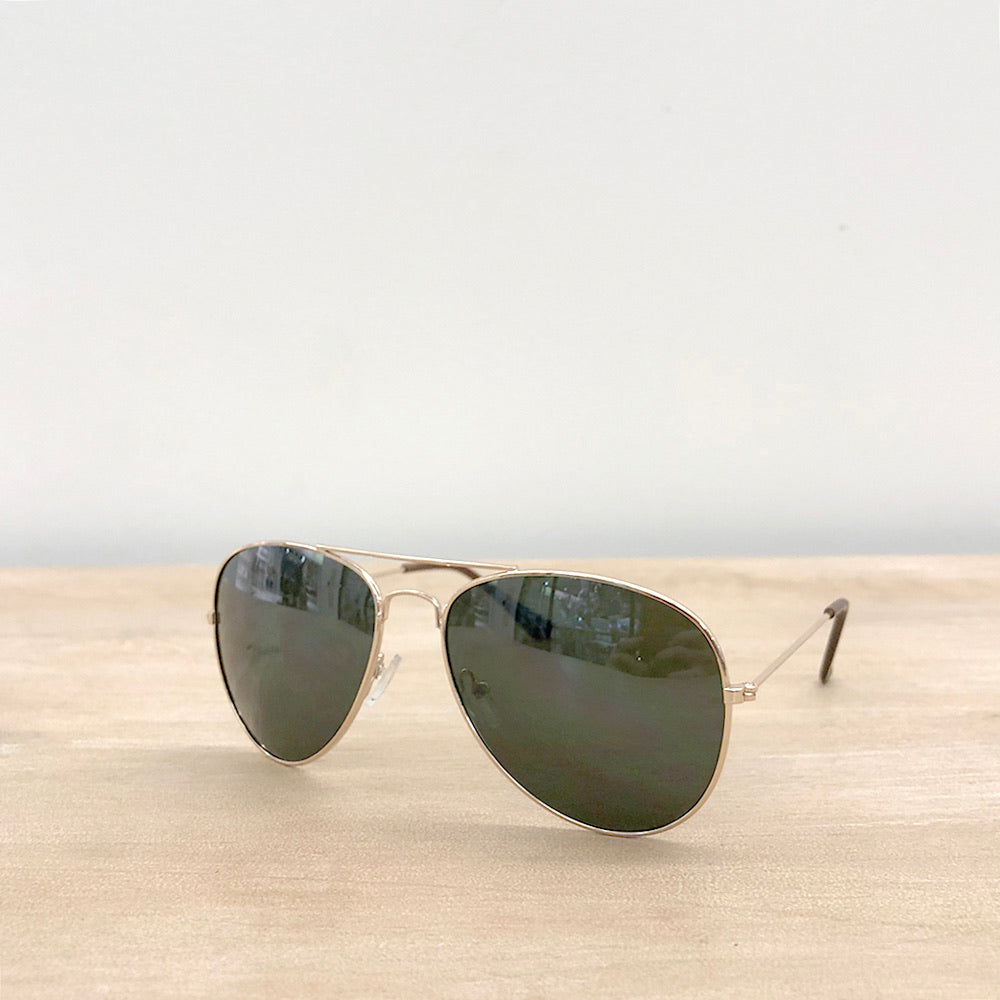 Tyndall Pilot Sunglasses Green/Gold One Size