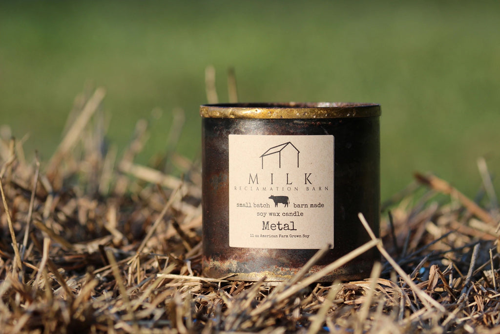 Milk Reclamation Barn Candle- Metal
