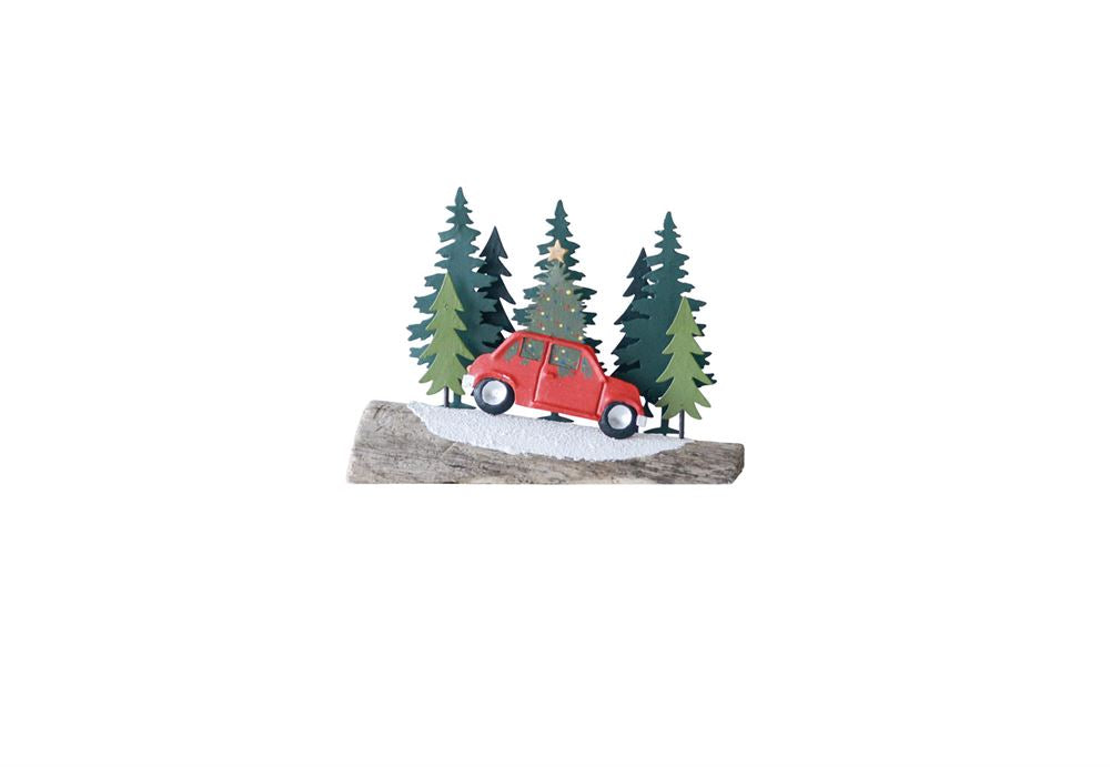Driftwood Christmas Tree w/ Red Car