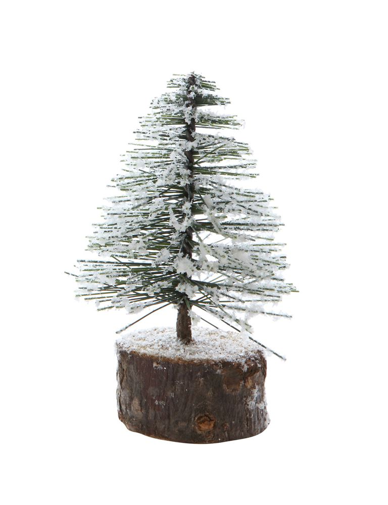 Artificial Tree w/ Wood Slice Base, Snow Finish