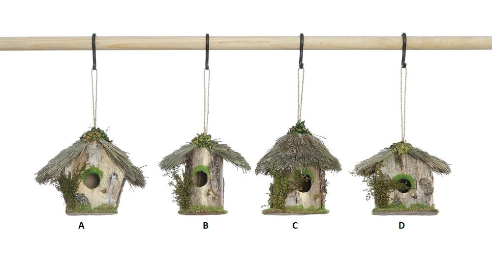 Wood & Grass Birdhouse Ornament